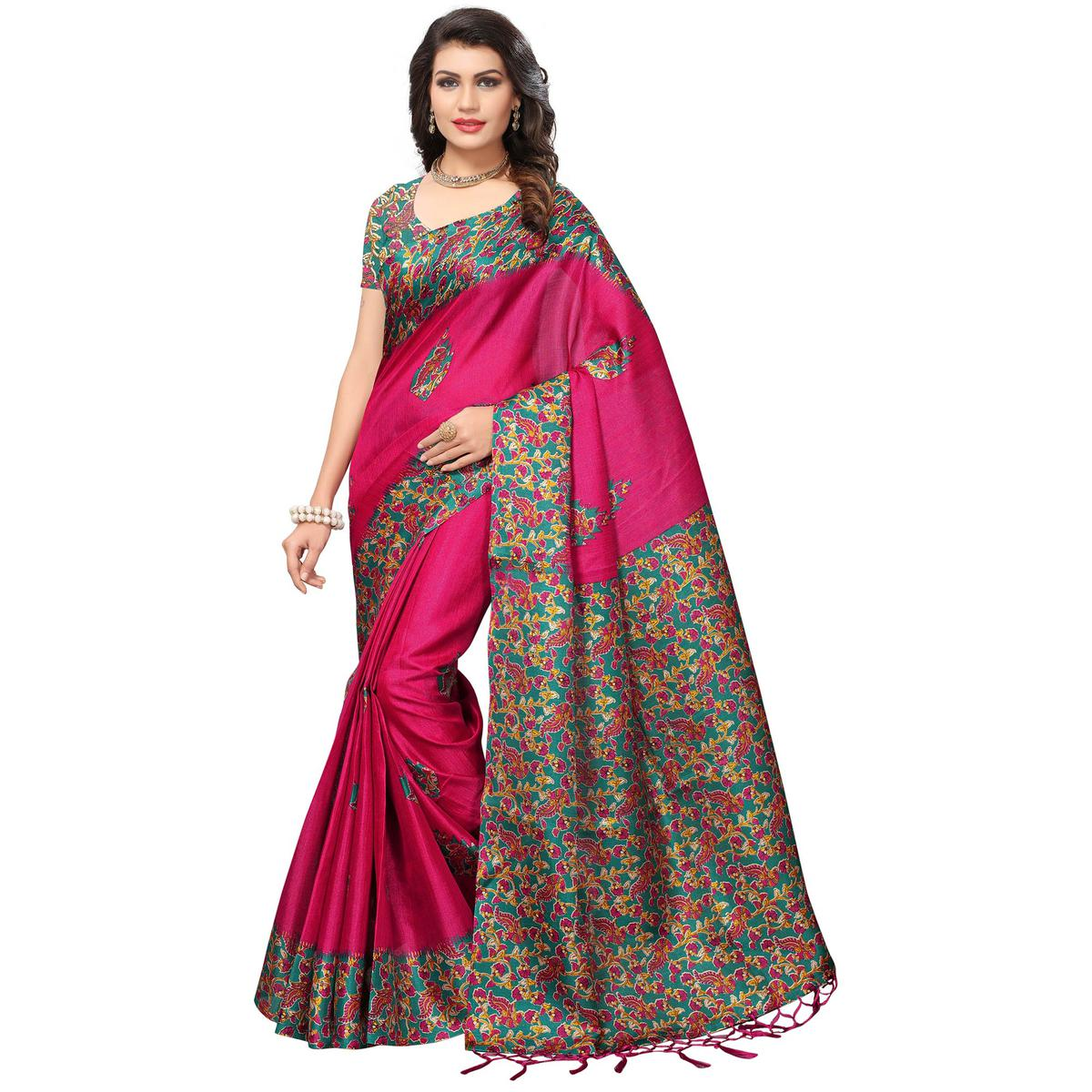 Surpassing Pink Colored Festive Wear Printed Silk Saree