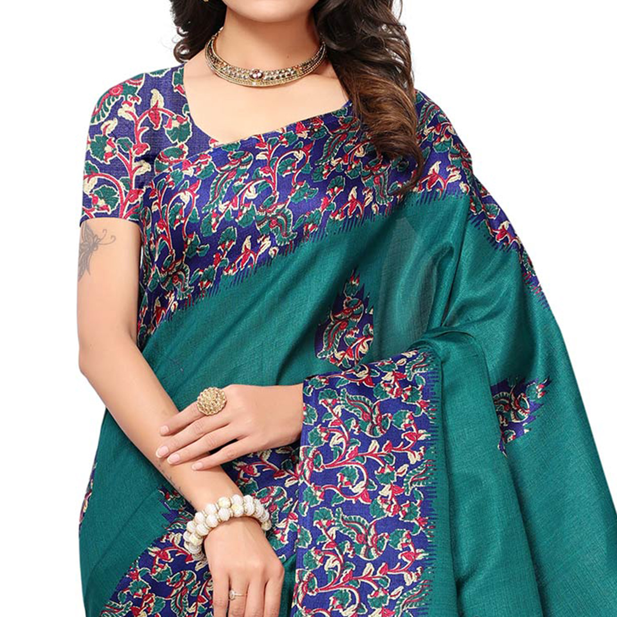 Opulent Teal Green Colored Festive Wear Printed Silk Saree