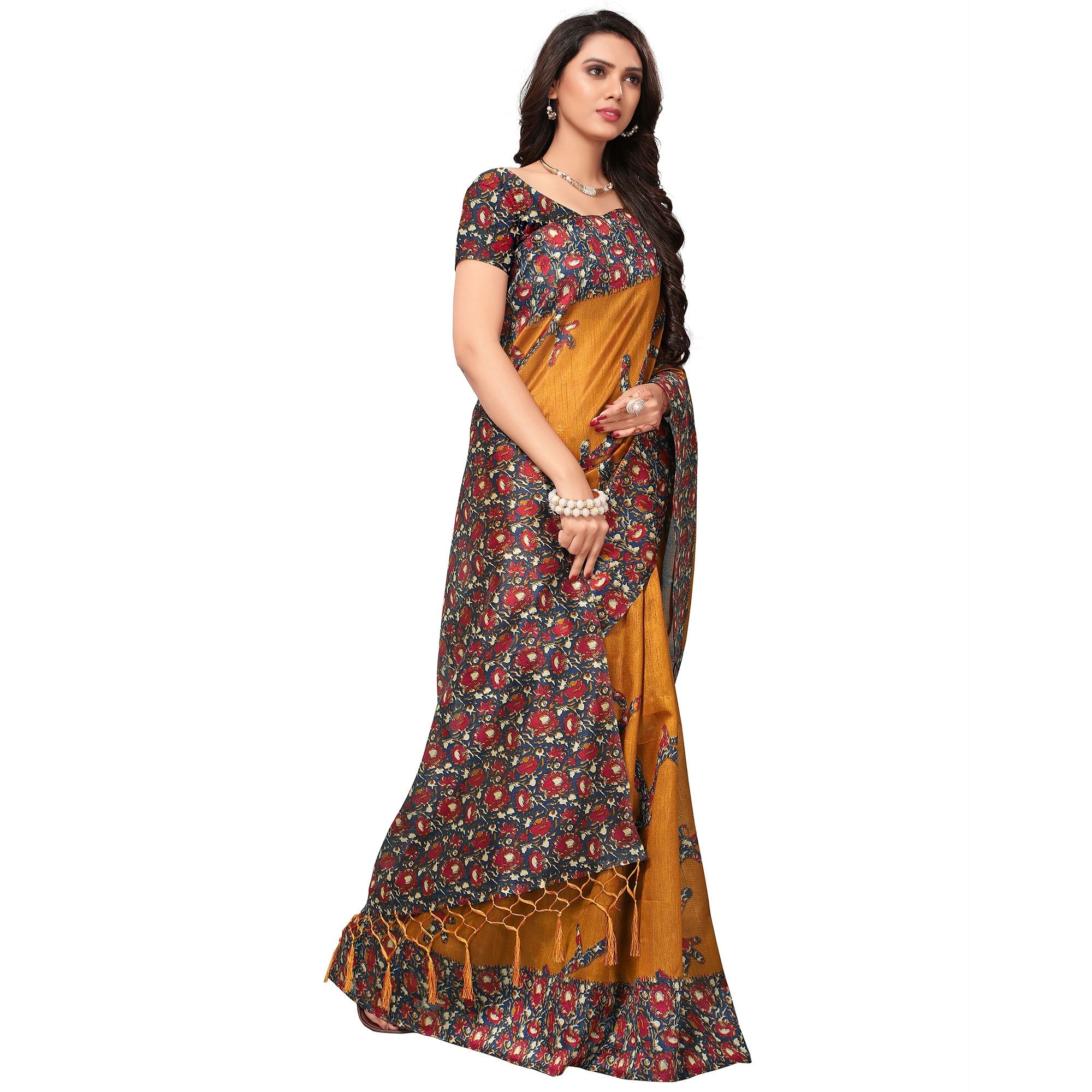 Lovely Yellow Colored Festive Wear Printed Silk Saree