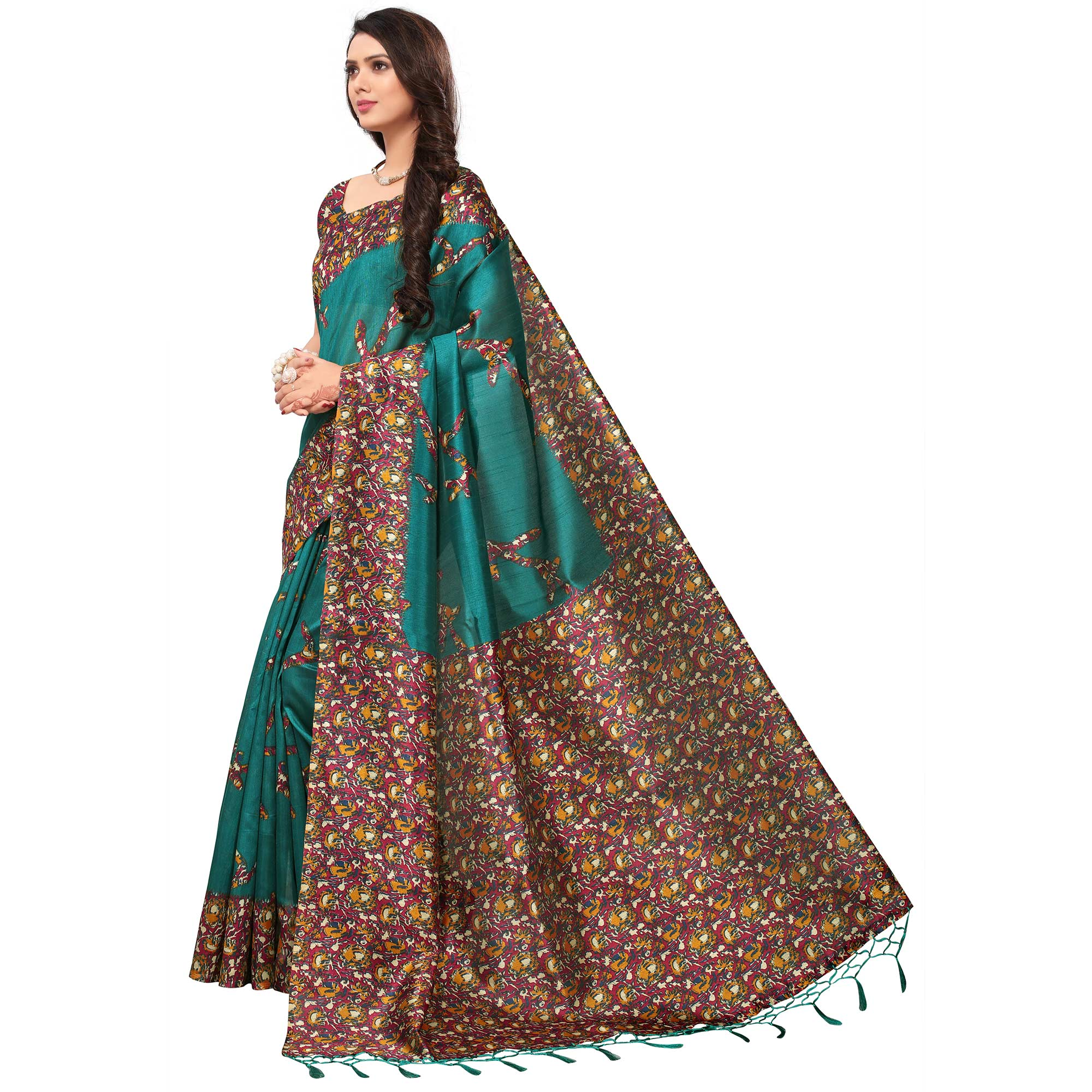 Classy Teal Green Colored Festive Wear Printed Silk Saree