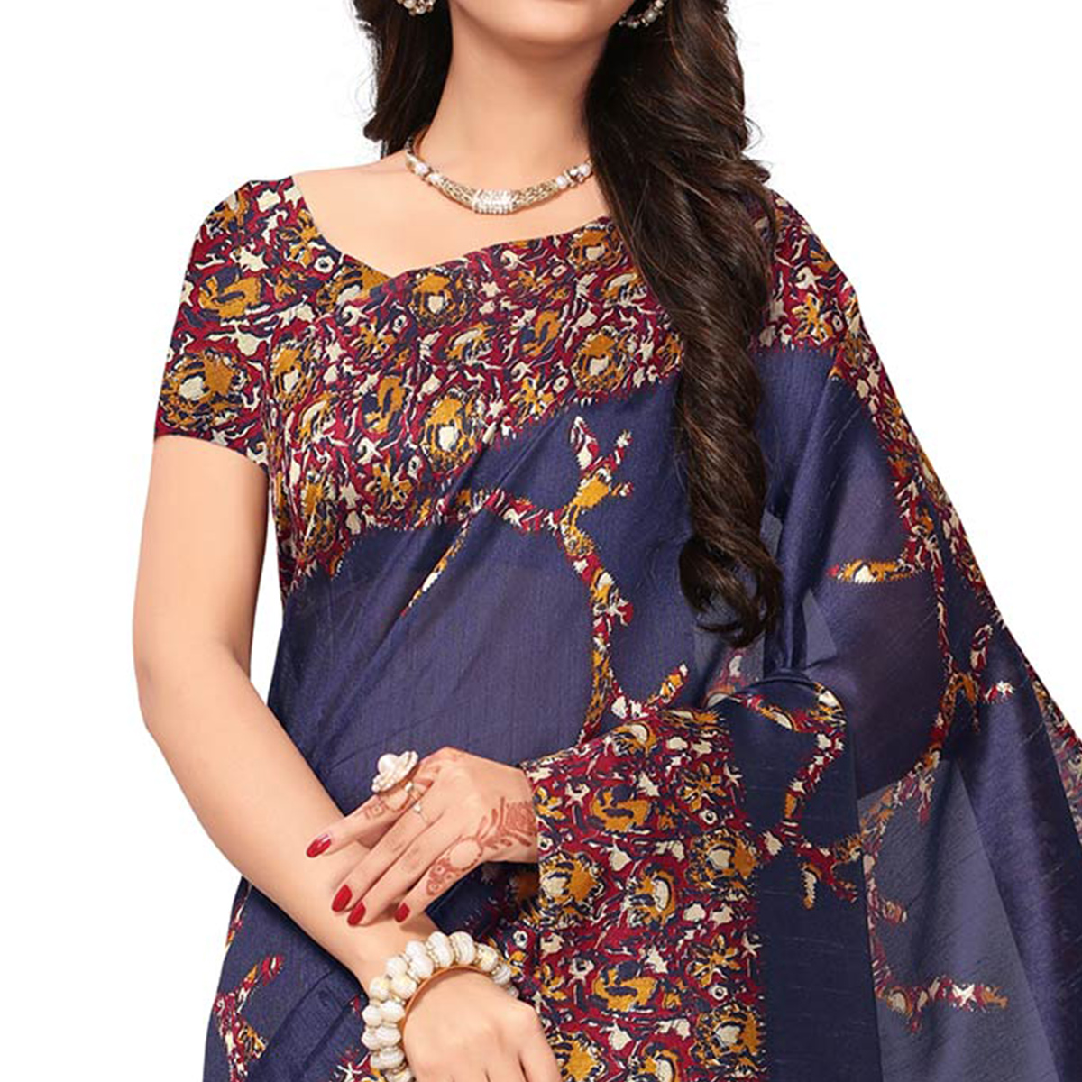 Impressive Navy Blue Colored Festive Wear Printed Silk Saree