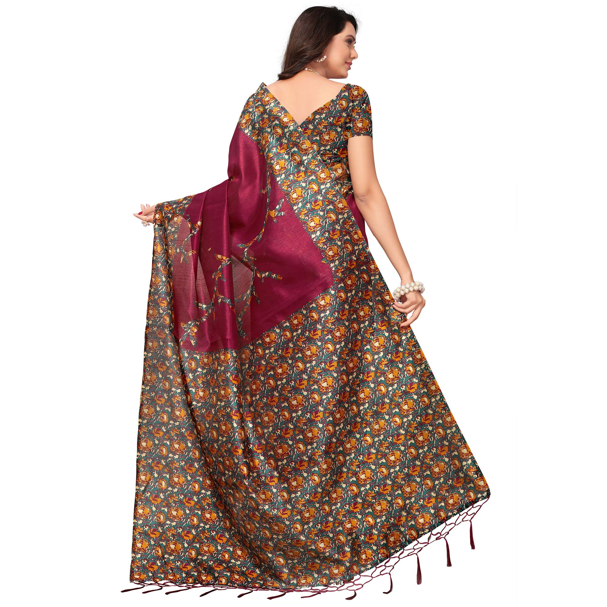 Groovy Magenta Colored Festive Wear Printed Silk Saree