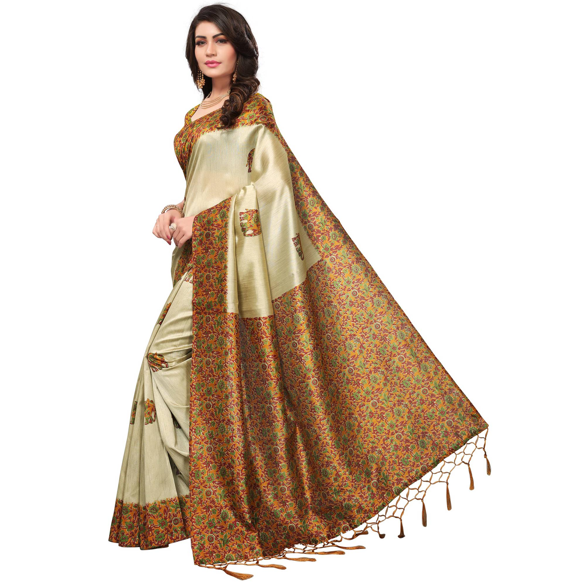 Appealing Cream-Yellow Colored Festive Wear Printed Silk Saree