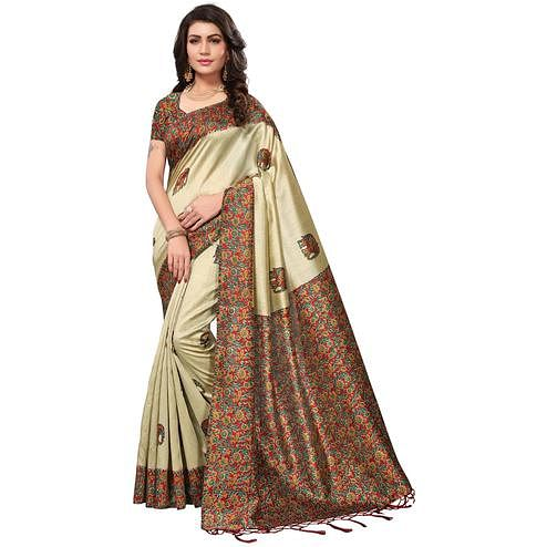 Staring Cream-Red Colored Festive Wear Printed Silk Saree