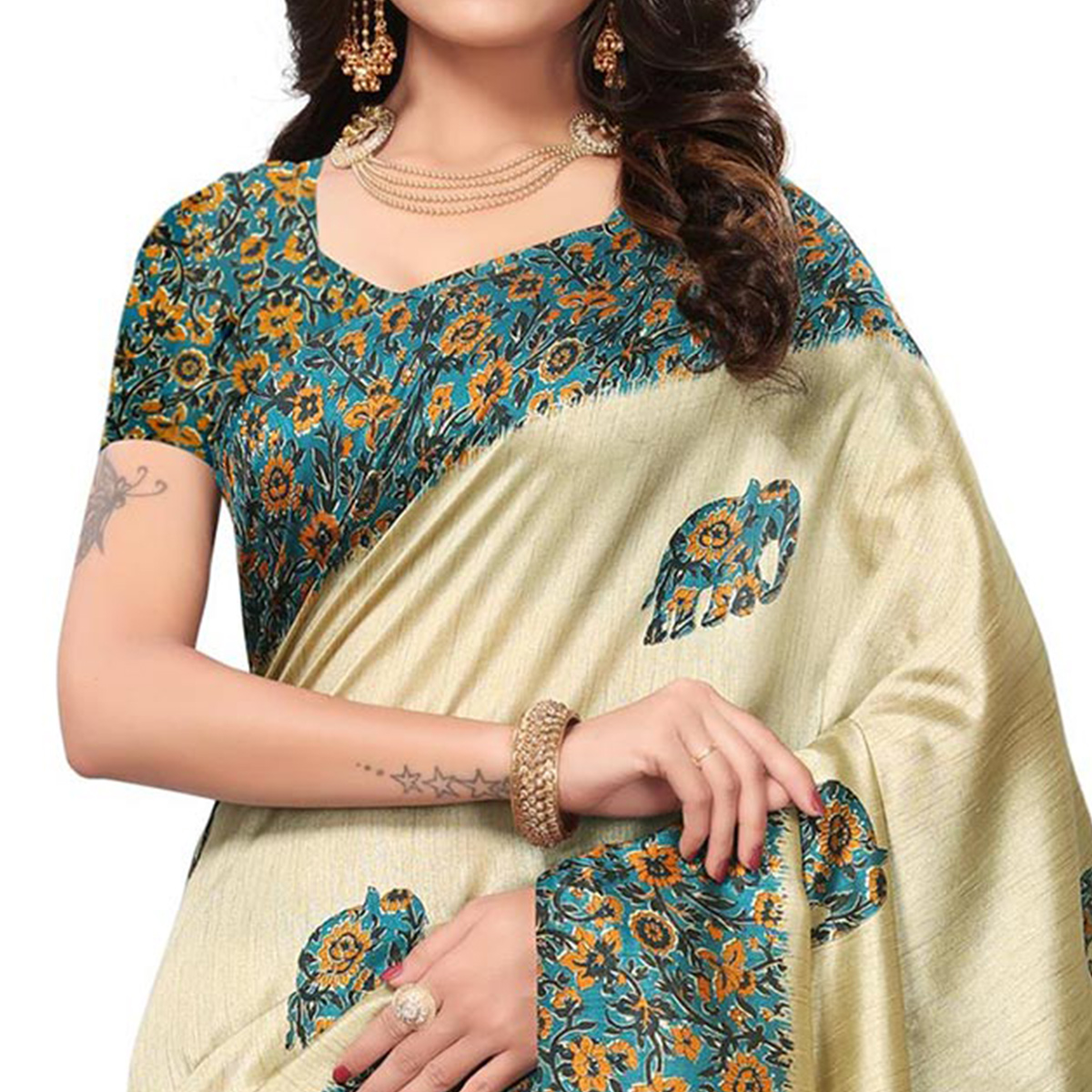 Blooming Cream-Blue Colored Festive Wear Printed Silk Saree