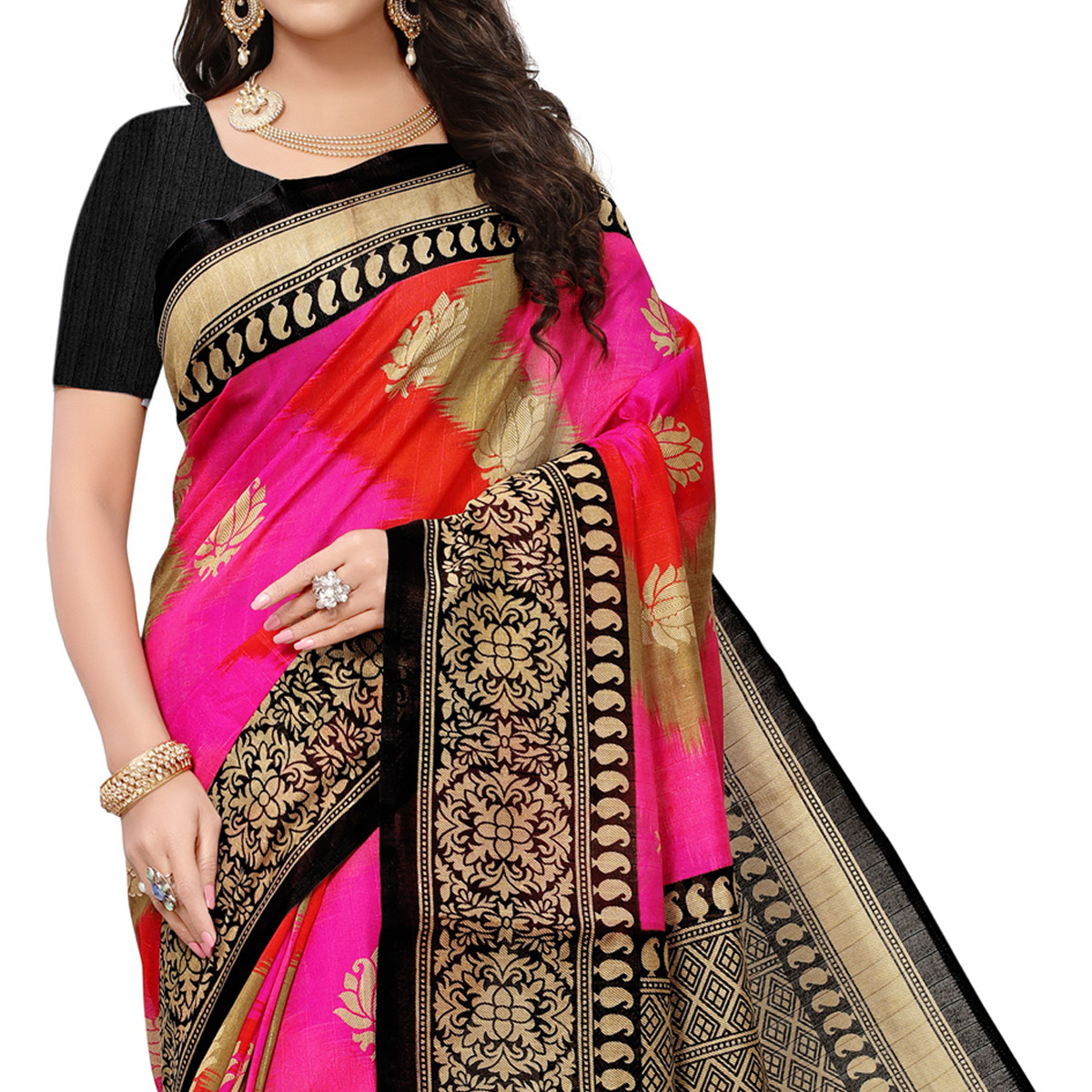 Pretty Pink Colored Festive Wear Woven Bhagalpuri Silk Saree