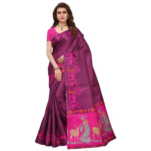 Amazing Purple Colored Printed Festive Wear Khadi Silk Saree