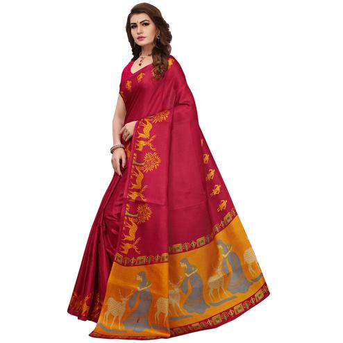 Attractive Red Colored Printed Festive Wear Khadi Silk Saree