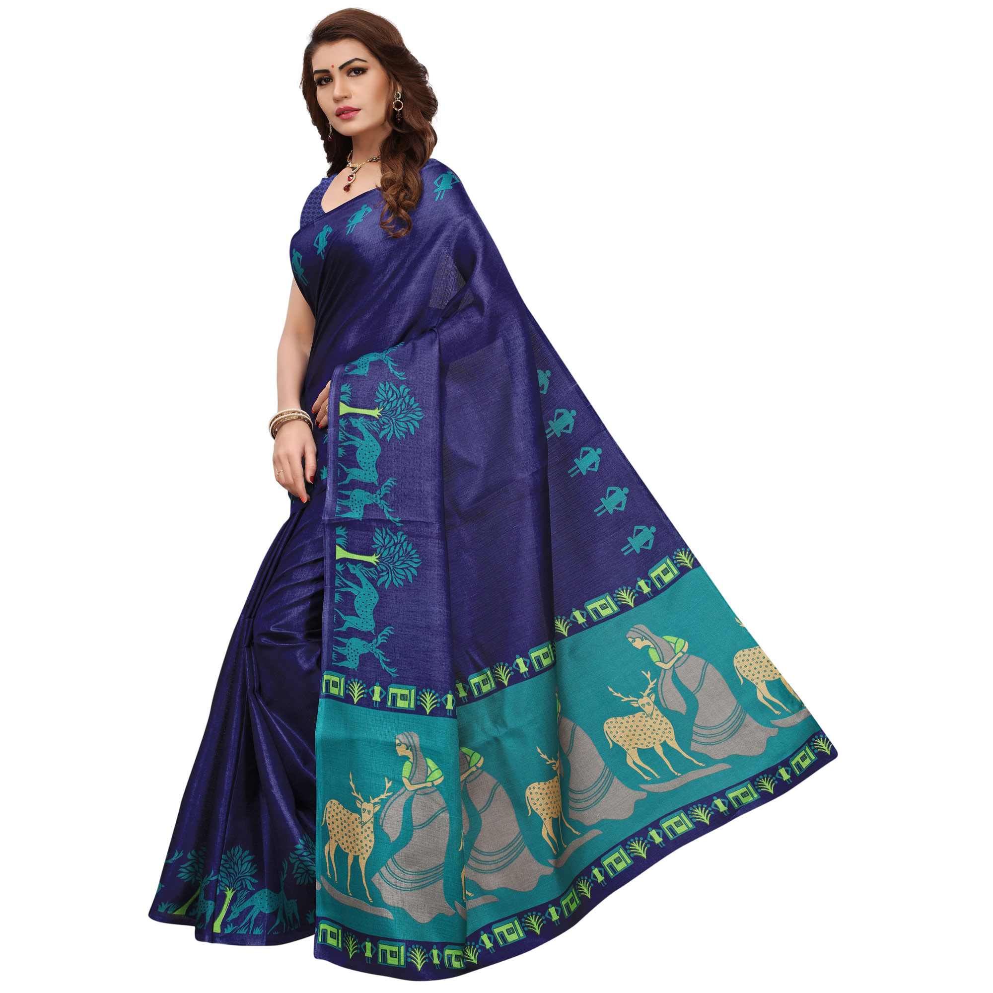 Desiring Navy Blue Colored Printed Festive Wear Khadi Silk Saree