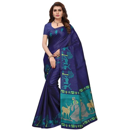 Desiring Navy Blue Colored Printed Festive Wear Art Silk Saree
