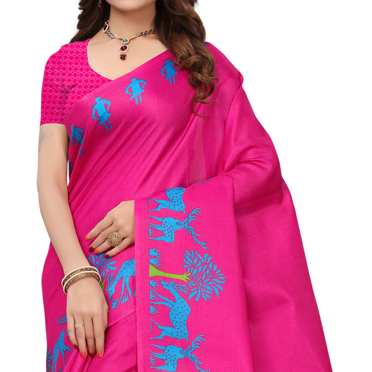 Charming Pink Colored Printed Festive Wear Khadi Silk Saree