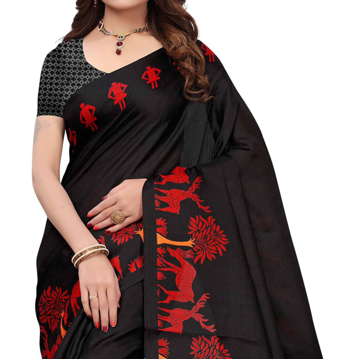 Beautiful Black Colored Printed Festive Wear Khadi Silk Saree