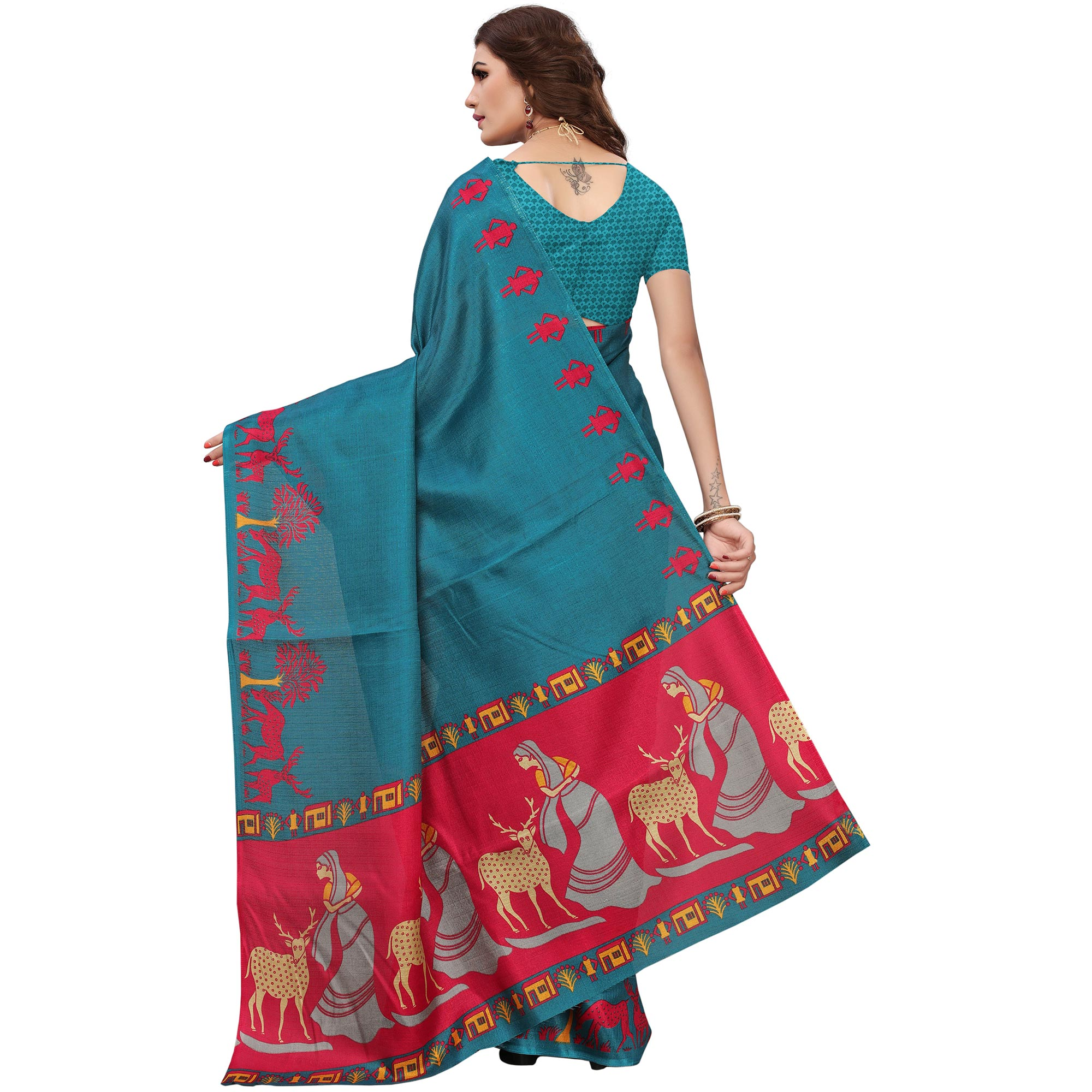 Glowing Teal Green Colored Printed Festive Wear Khadi Silk Saree