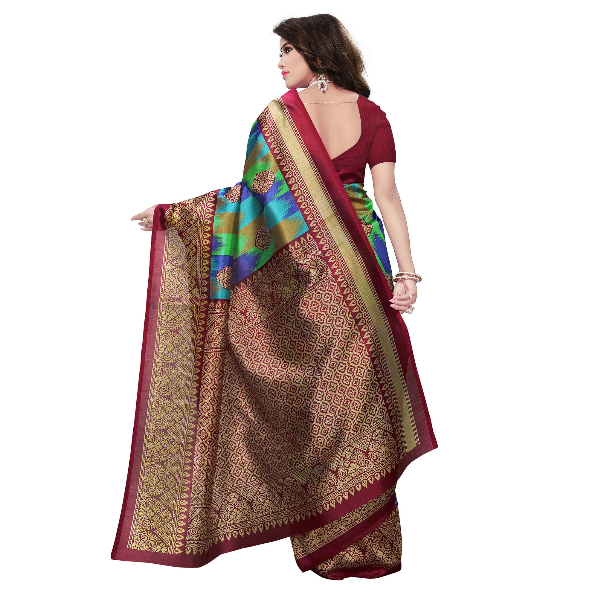 Adorning Maroon-Multi Colored Festive Wear Woven Mysore Art Silk Saree