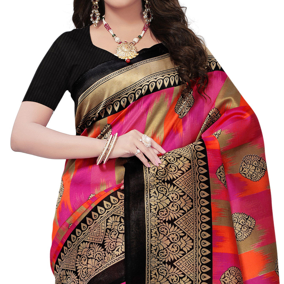 Flattering Black-Multi Colored Festive Wear Woven Mysore Art Silk Saree