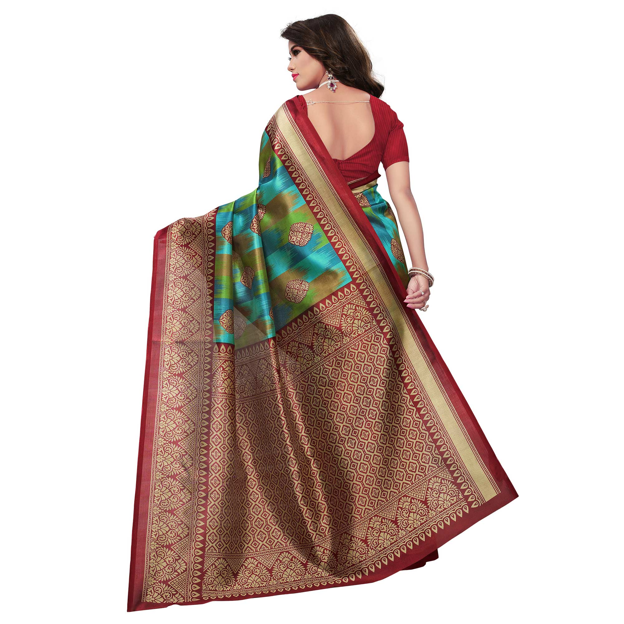 Energetic Red-Multi Colored Festive Wear Woven Mysore Art Silk Saree