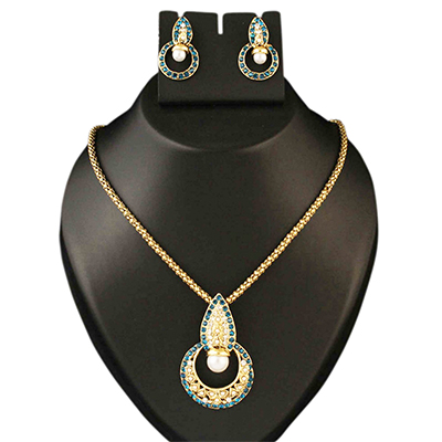 Blue Austrian Stone Pearl Gold Finish Pendant Sets