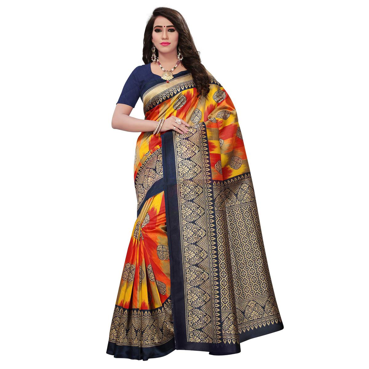 Engaging Navy Blue-Multi Colored Festive Wear Woven Mysore Art Silk Saree