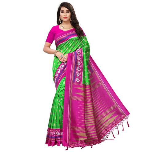 Blooming Green-Pink Colored Printed Festive Wear Mysore Art Silk Saree
