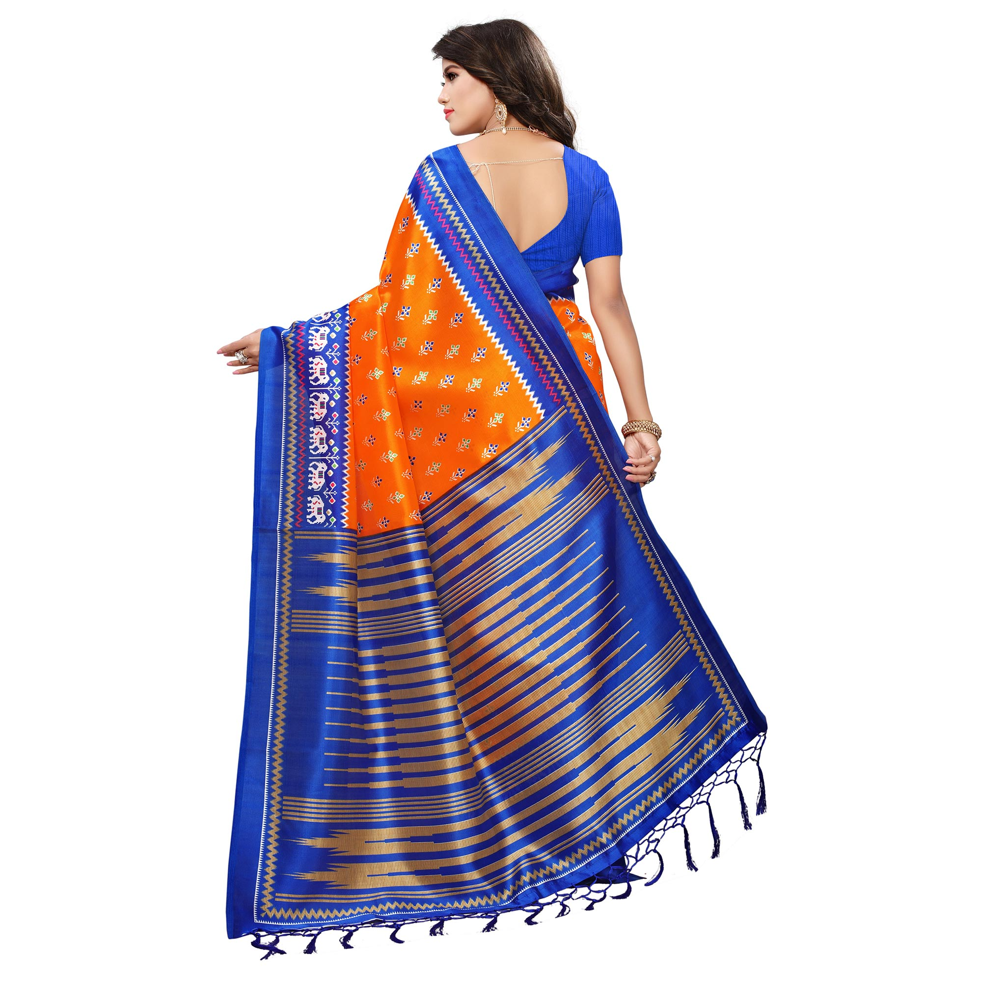 Gleaming Orange-Blue Colored Printed Festive Wear Mysore Art Silk Saree