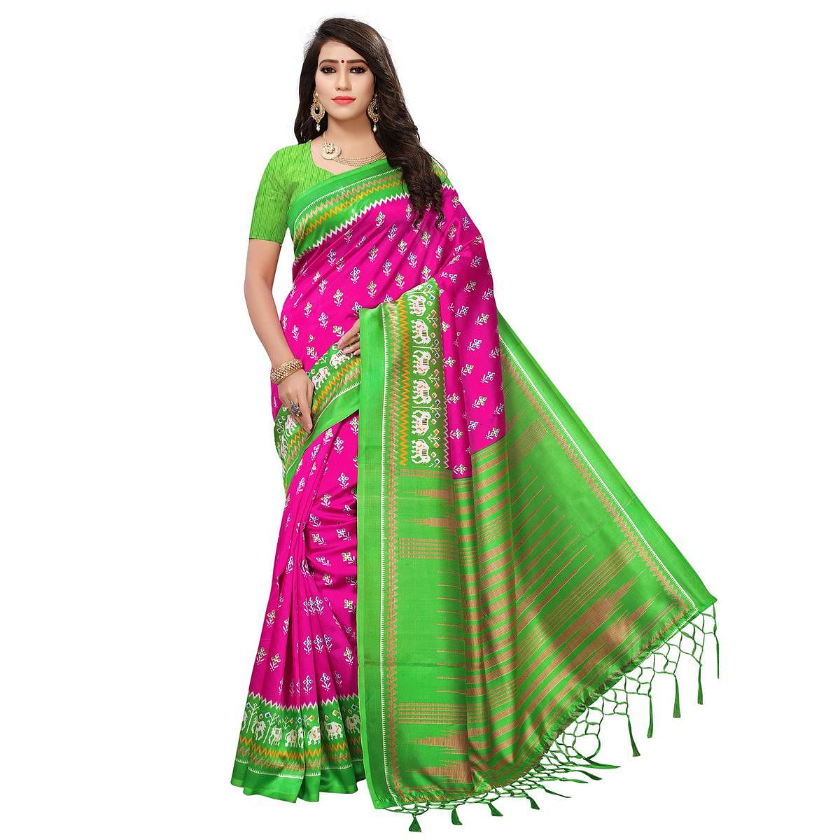 Lovely Pink-Green Colored Printed Festive Wear Mysore Art Silk Saree