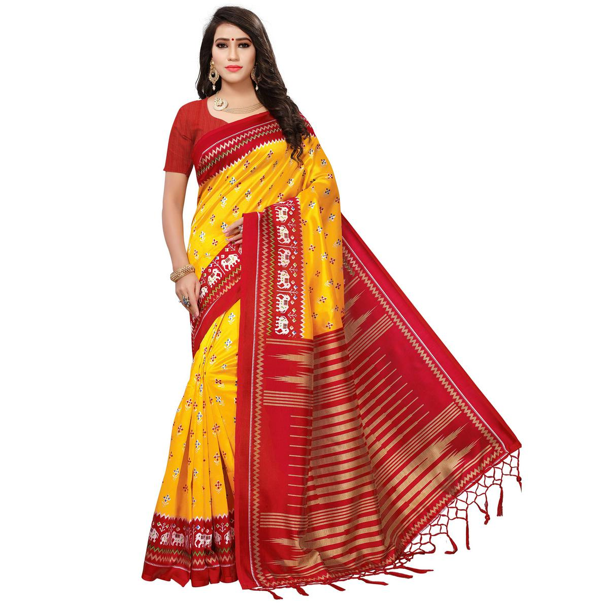 Traditional Yellow-Red Colored Printed Festive Wear Mysore Art Silk Saree