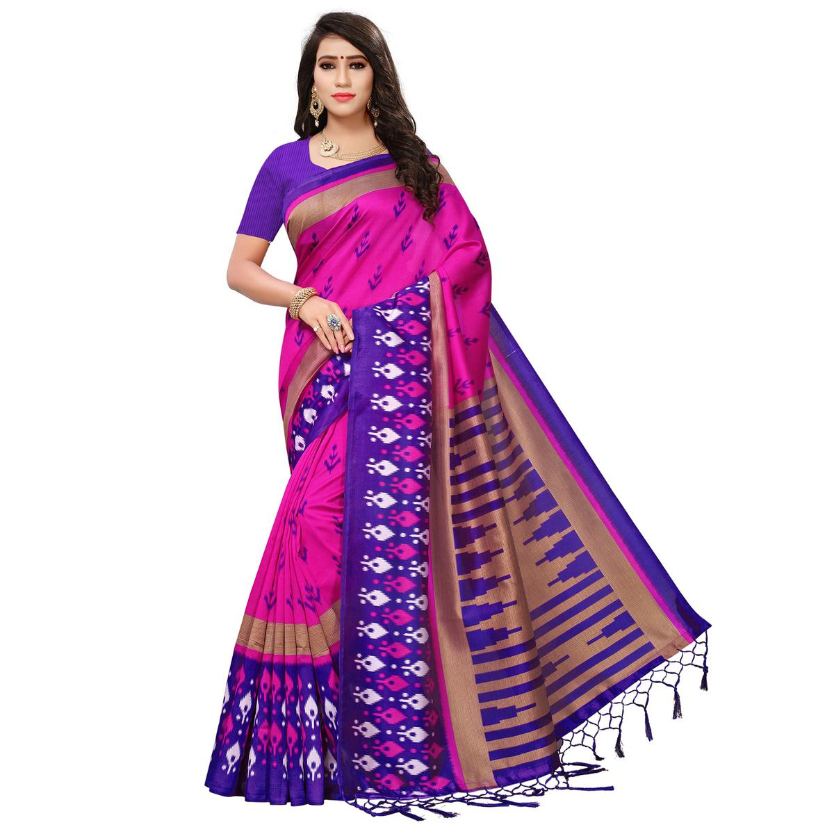Trendy Pink-Purple Colored Printed Festive Wear Mysore Art Silk Saree
