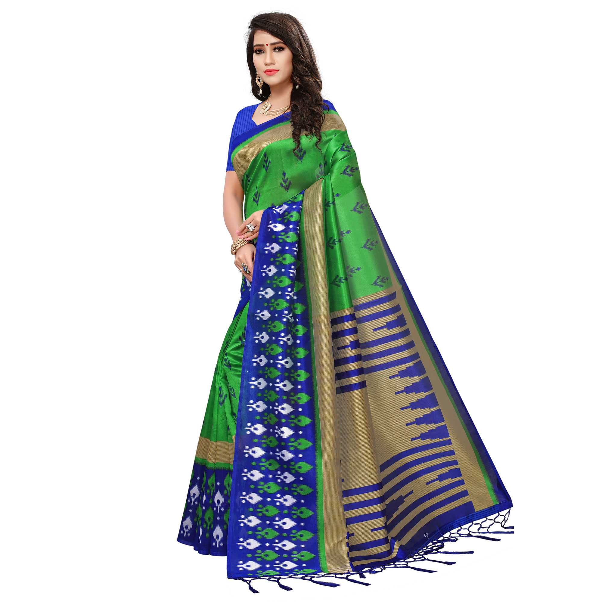 Refreshing Green-Blue Colored Printed Festive Wear Mysore Art Silk Saree