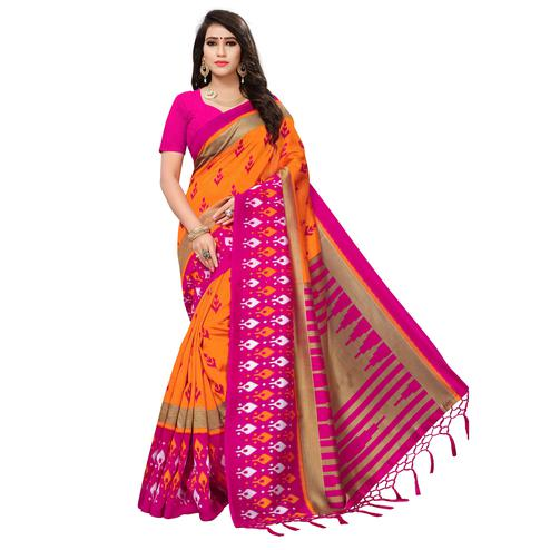 Glowing Orange-Pink Colored Printed Festive Wear Mysore Art Silk Saree