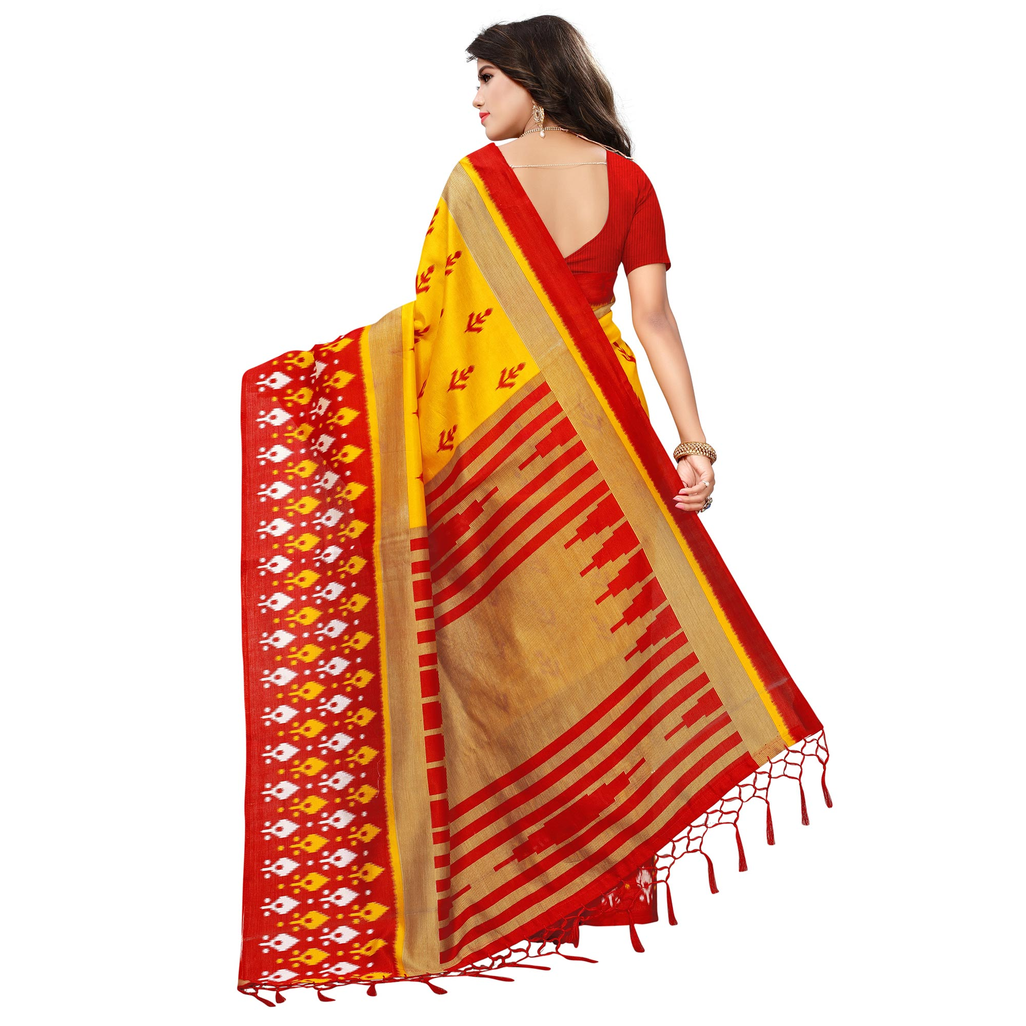 Appealing Yellow-Red Colored Printed Festive Wear Mysore Art Silk Saree