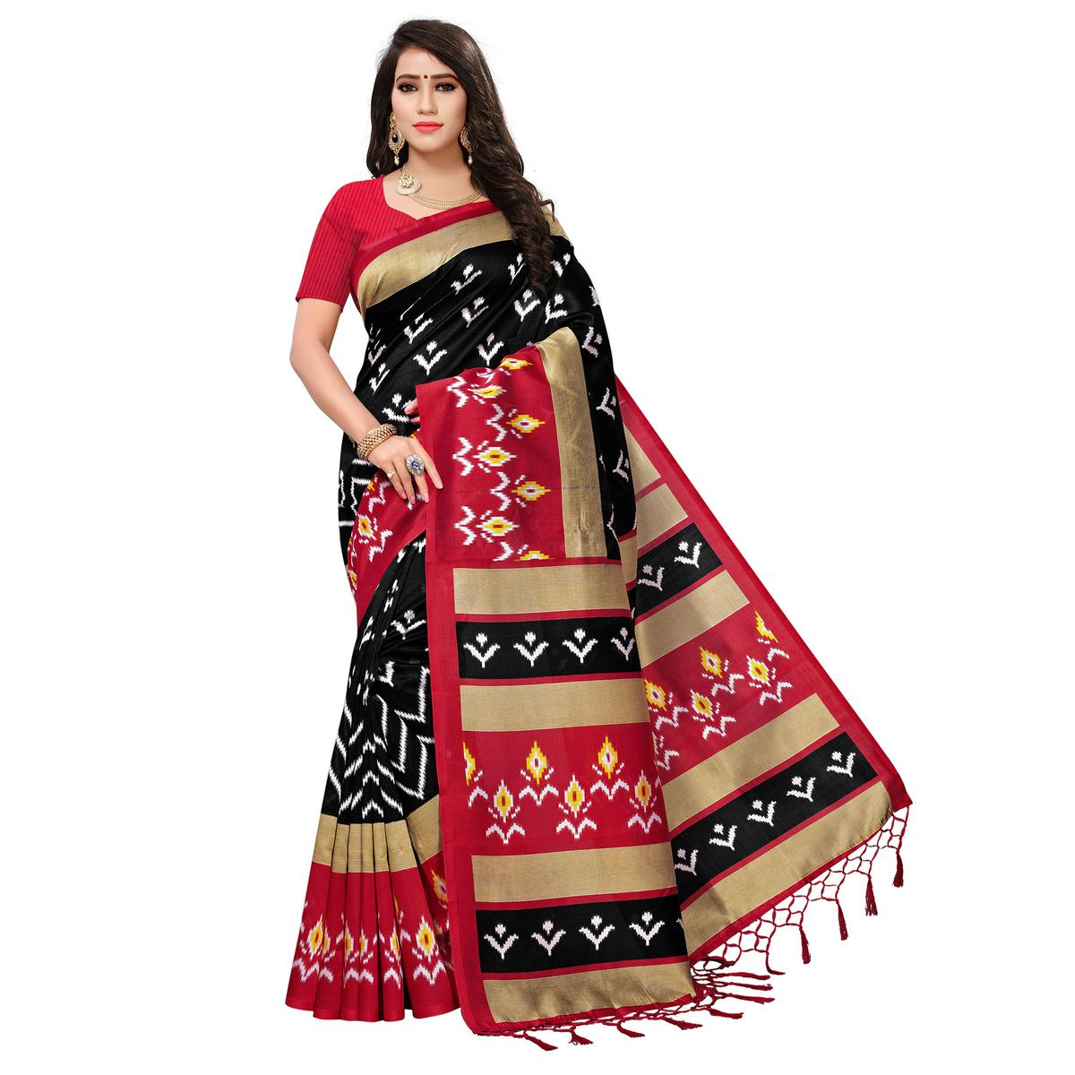 Beautiful Black-Red Colored Printed Festive Wear Mysore Art Silk Saree