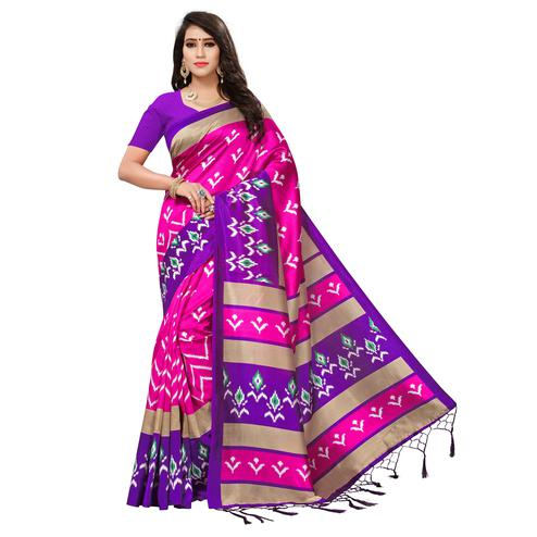 Flamboyant Pink-Purple Colored Printed Festive Wear Mysore Art Silk Saree