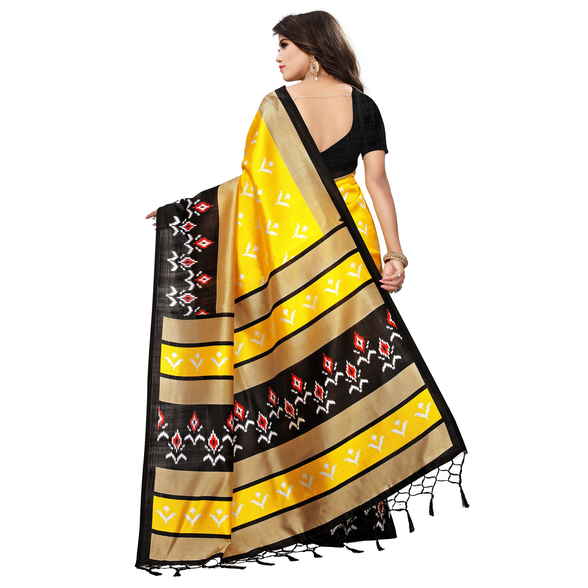 Innovative Yellow-Black Colored Printed Festive Wear Mysore Art Silk Saree