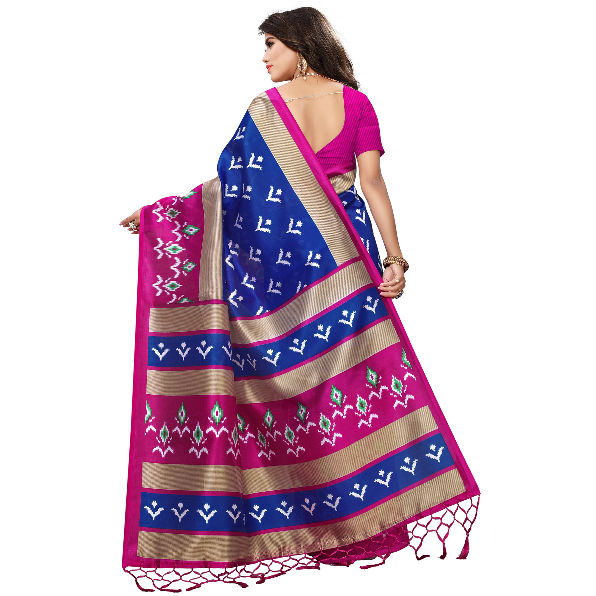 Pretty Blue-Pink Colored Printed Festive Wear Mysore Art Silk Saree