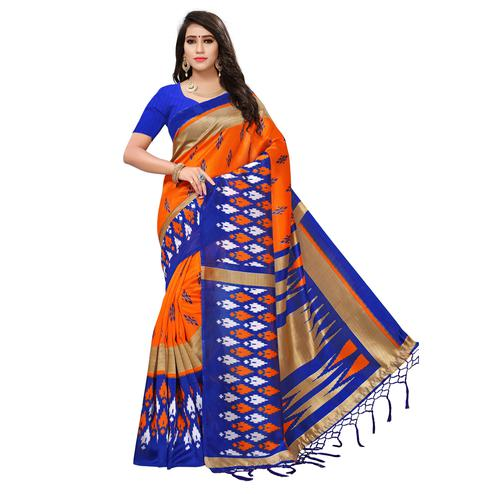 Surpassing Orange-Blue Colored Printed Festive Wear Mysore Art Silk Saree