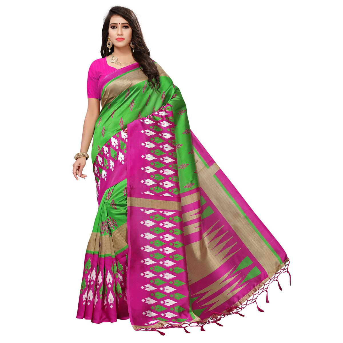 Groovy Green-Pink Colored Printed Festive Wear Mysore Art Silk Saree