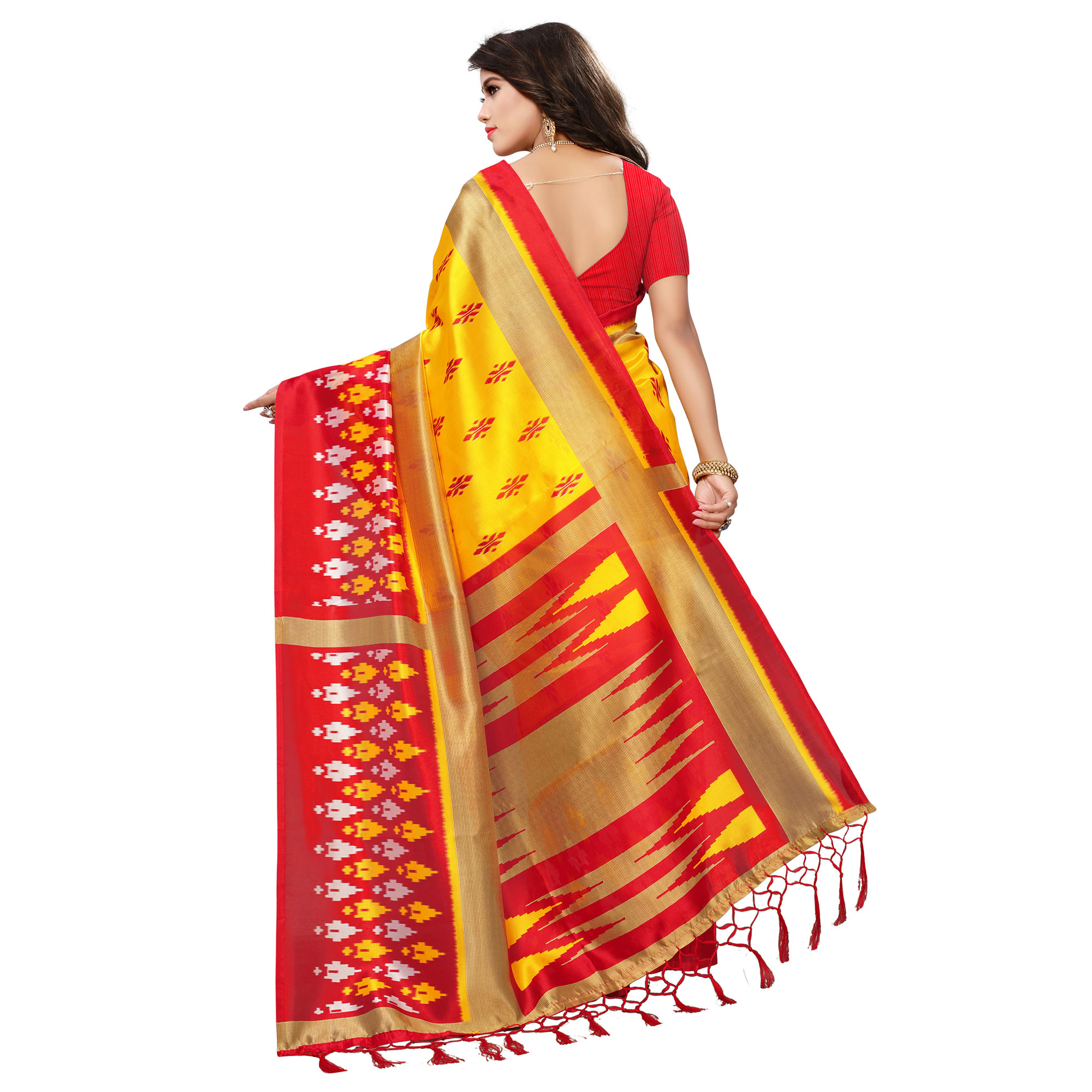 Outstanding Yellow-Red Colored Printed Festive Wear Mysore Art Silk Saree