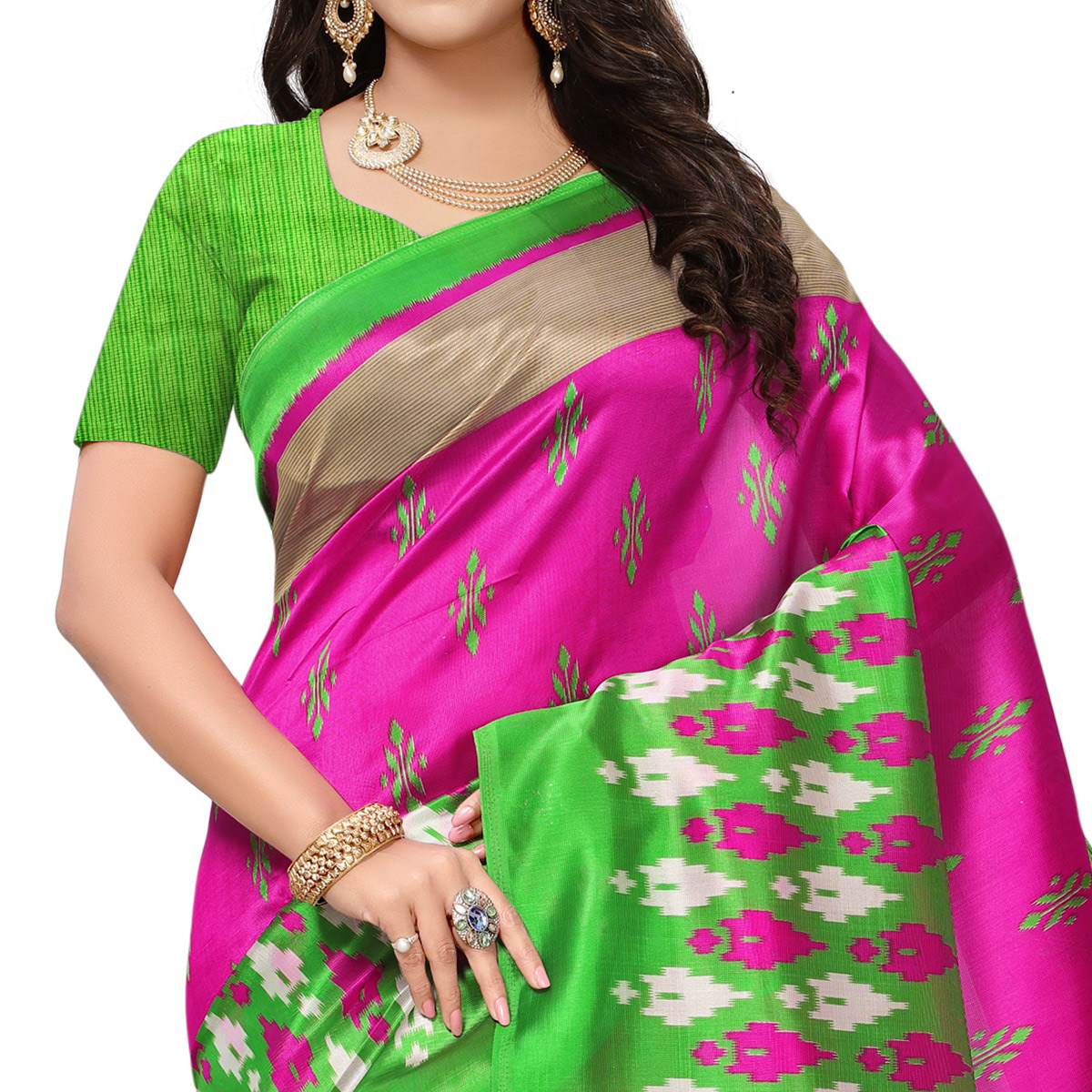 Energetic Pink-Green Colored Printed Festive Wear Mysore Art Silk Saree