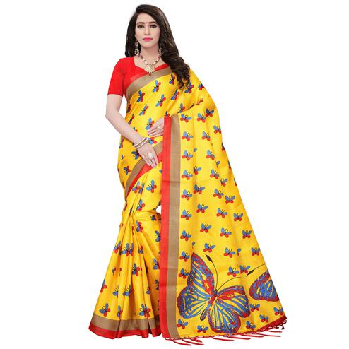 Adorning Yellow Colored Printed Festive Wear Mysore Art Silk Saree