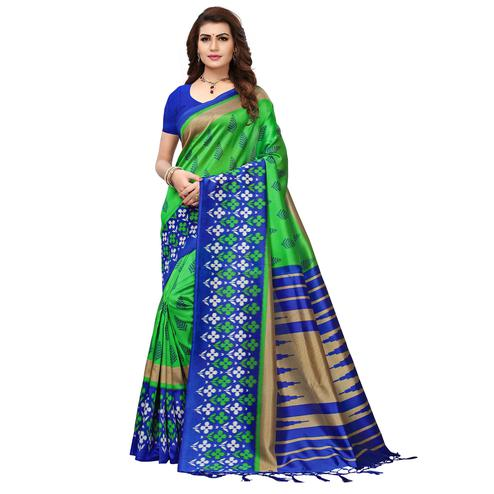 Attractive Green-Blue Colored Printed Festive Wear Mysore Art Silk Saree