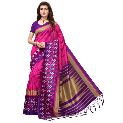 Jazzy Pink-Purple Colored Printed Festive Wear Mysore Art Silk Saree