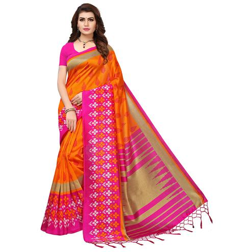 Amazing Orange-Pink Colored Printed Festive Wear Mysore Art Silk Saree