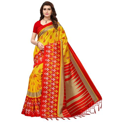 Fantastic Yellow-Red Colored Printed Festive Wear Mysore Art Silk Saree