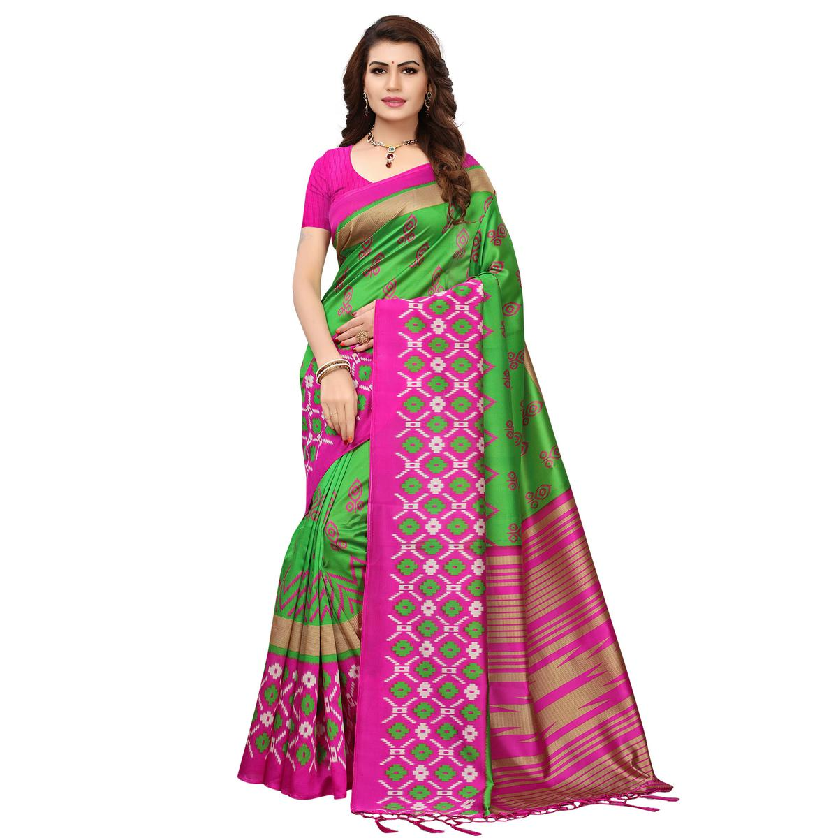 Staring Green-Pink Colored Printed Festive Wear Mysore Art Silk Saree