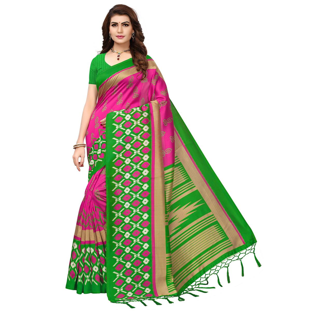 Groovy Pink-Green Colored Printed Festive Wear Mysore Art Silk Saree