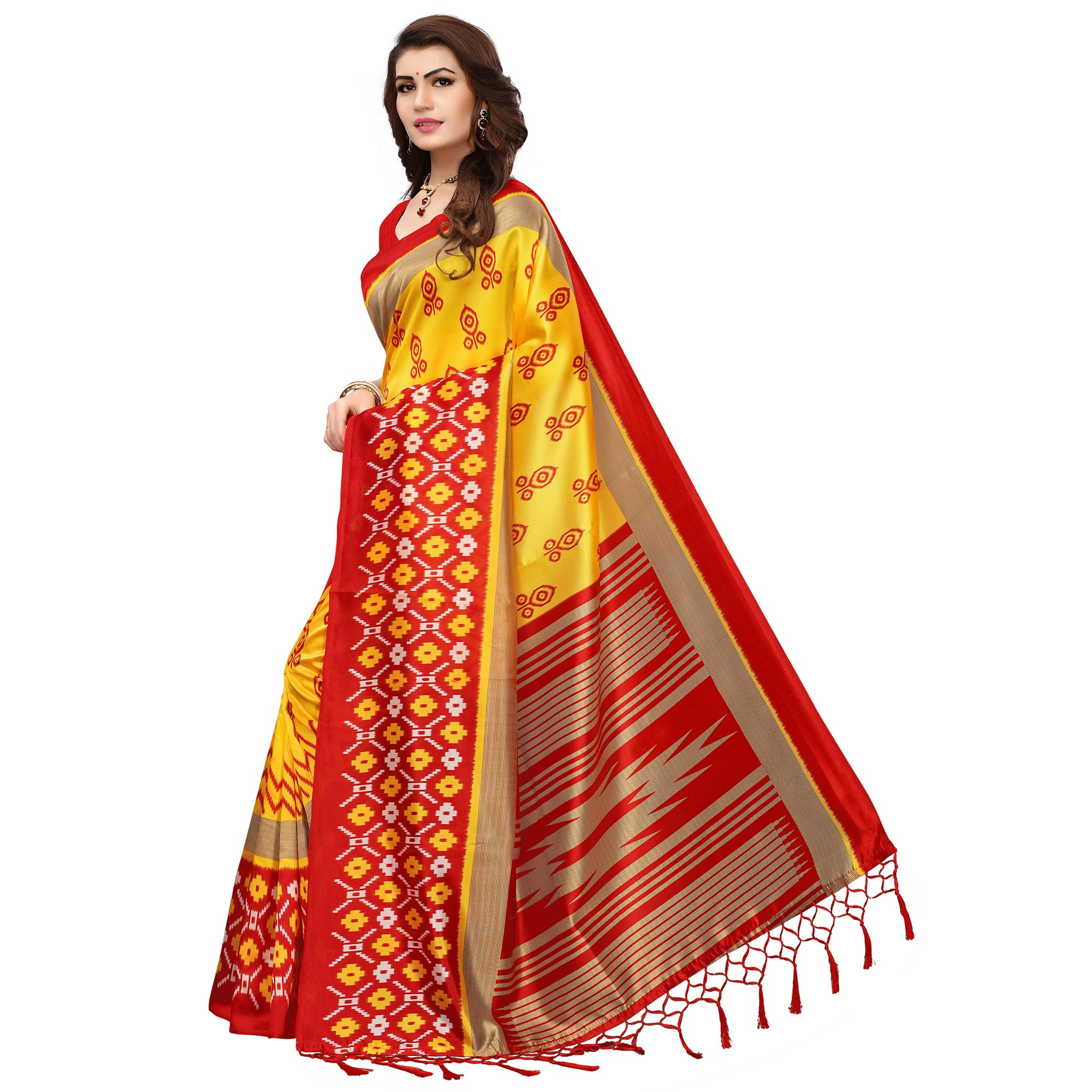 Desiring Yellow-Red Colored Printed Festive Wear Mysore Art Silk Saree