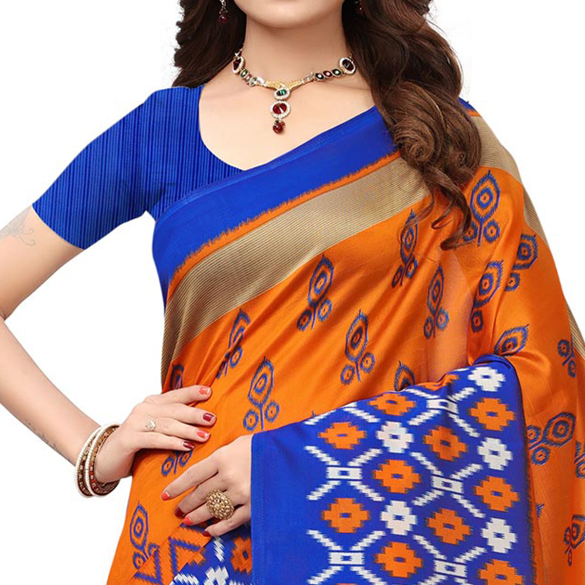 Demanding Orange-Blue Colored Printed Festive Wear Mysore Art Silk Saree