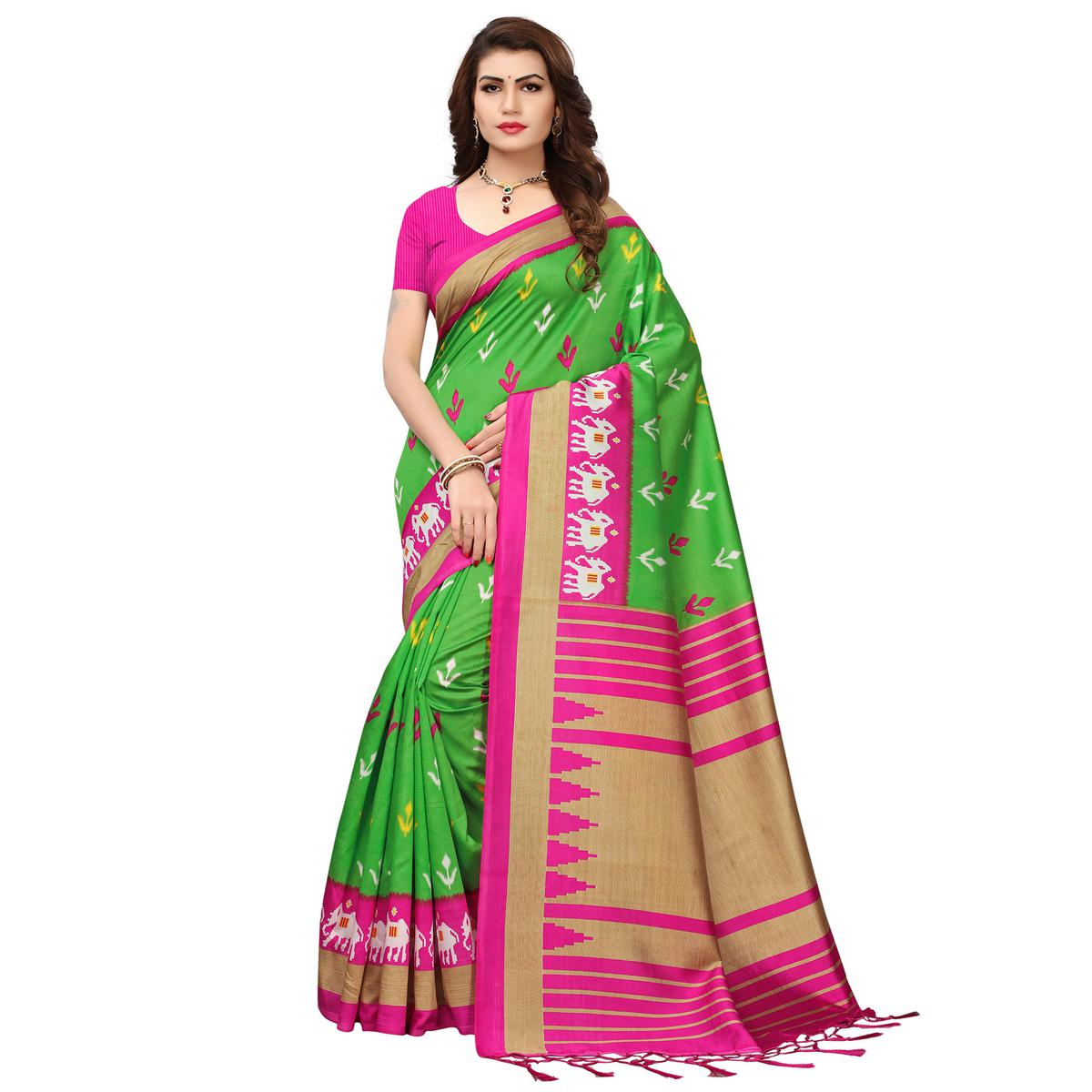 Charming Green-Pink Colored Printed Festive Wear Mysore Art Silk Saree