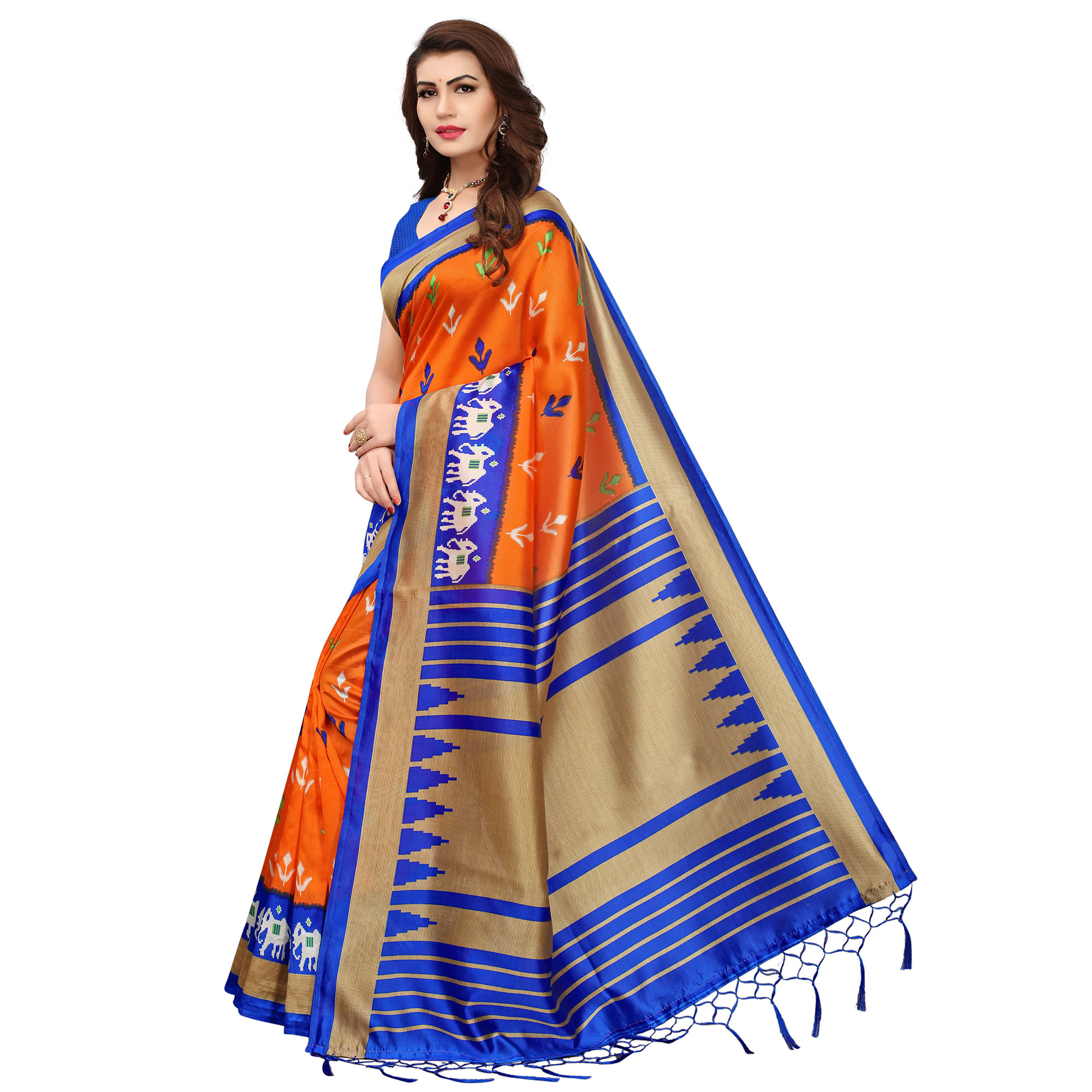 Innovative Orange-Blue Colored Printed Festive Wear Mysore Art Silk Saree