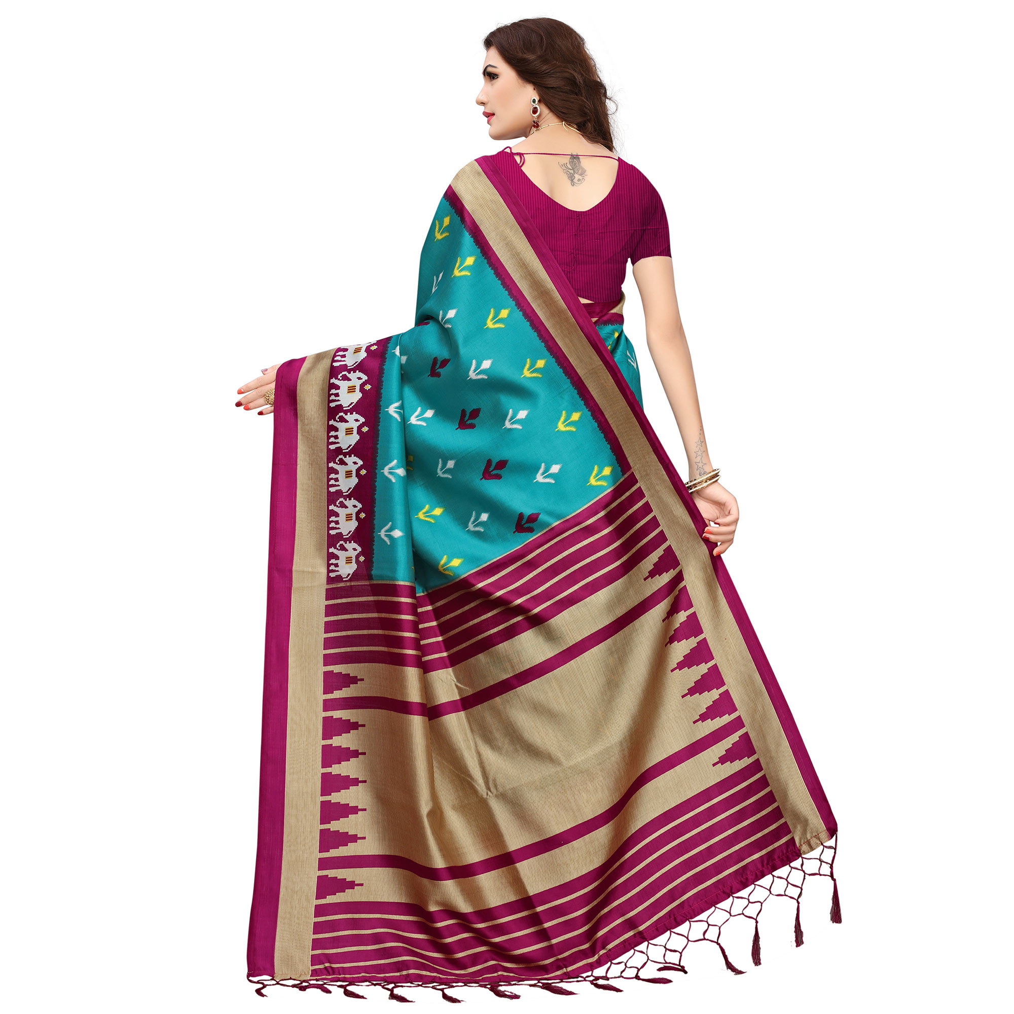 Excellent Teal-Magenta Colored Printed Festive Wear Mysore Art Silk Saree
